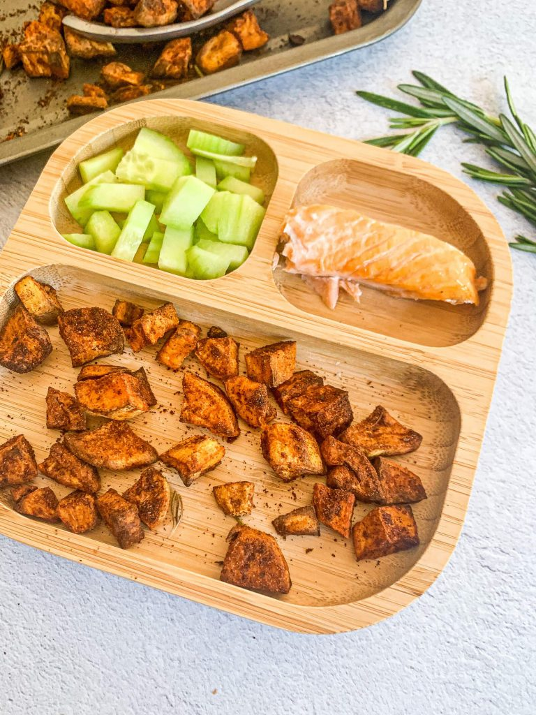 roasted sweet potato recipe with cucumber and salmon