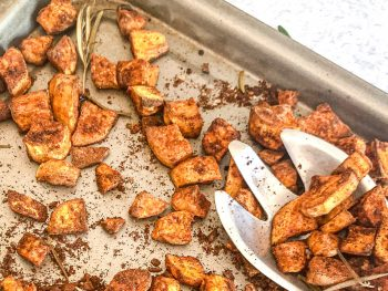 Cinnamon Roasted Sweet Potato in a sheet pan