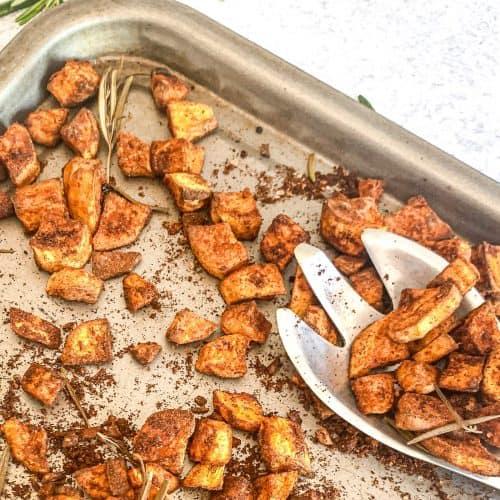 Cinnamon Roasted Sweet Potato in a sheet pan