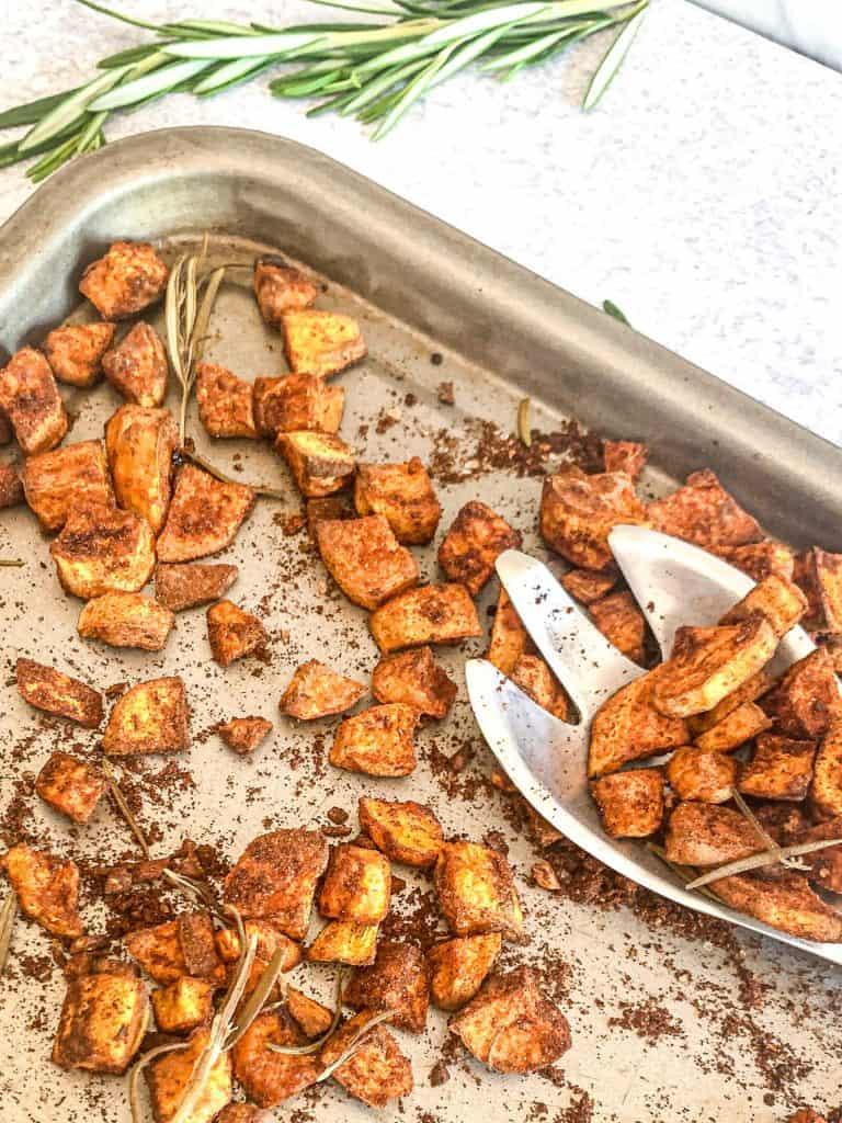 roasted sweet potato recipe in a sheet pan