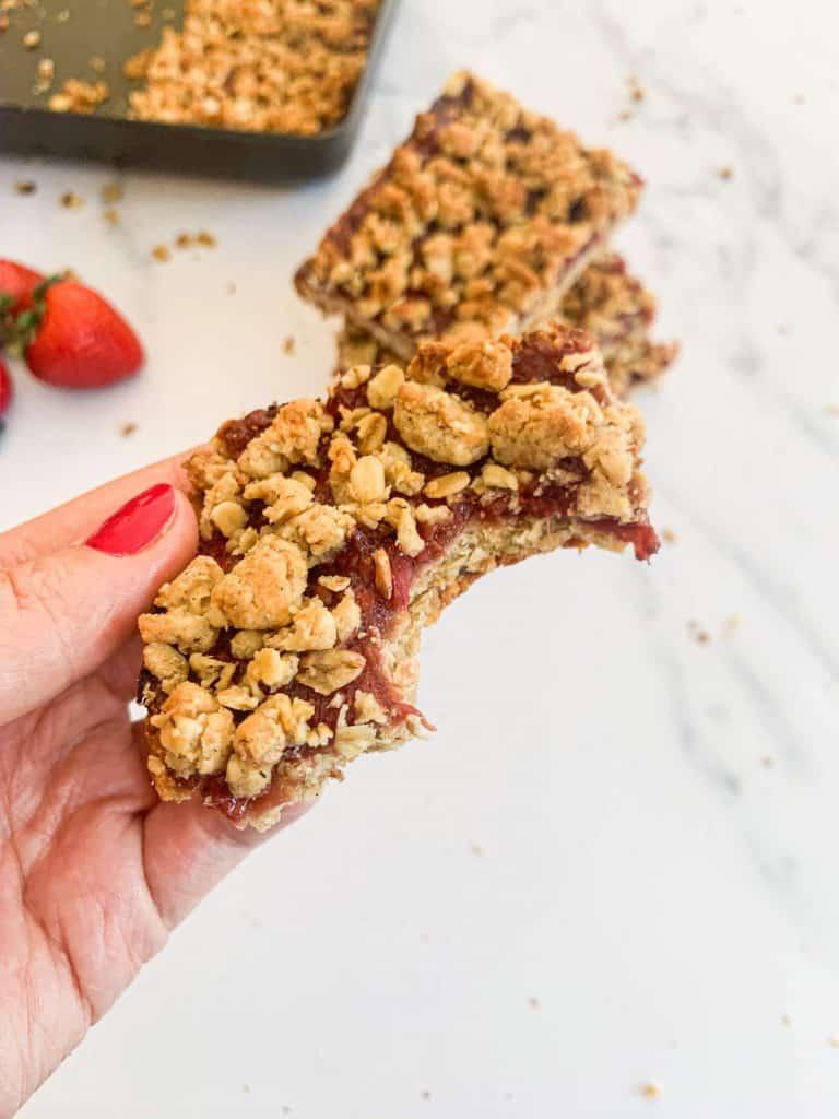 Kid Friendly Strawberry Oatmeal Bars - bite
