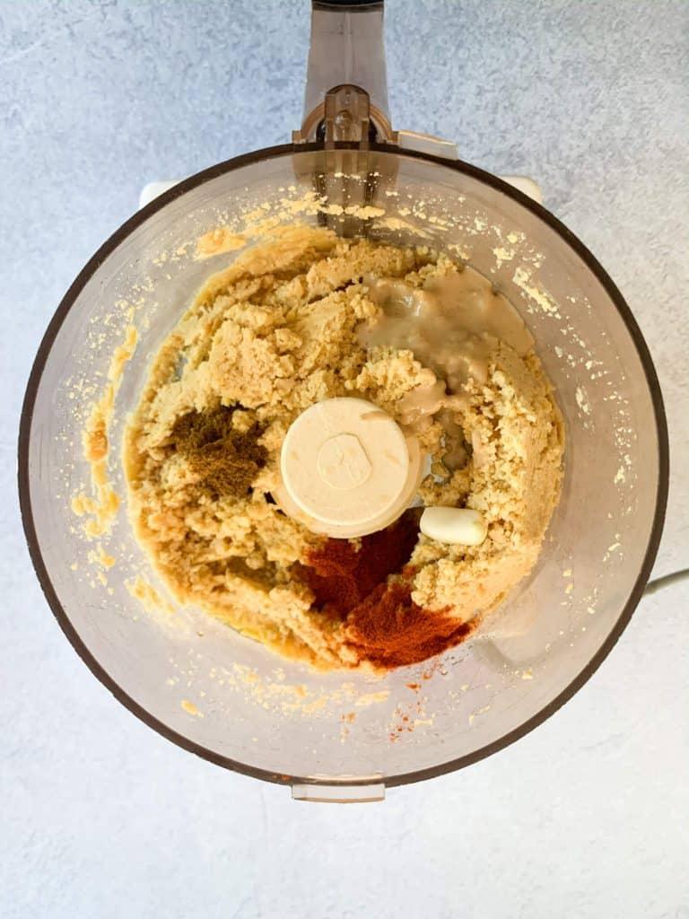 Sweet Paprika Homemade hummus all ingredients in food processor