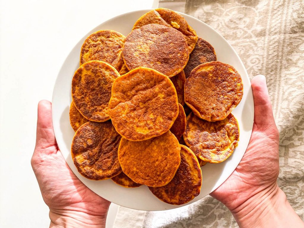 pumpkin pancakes - healthy toddler snacks