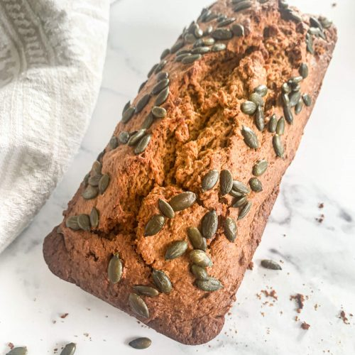 Pumpkin Bread with coconut oil and agave syrup