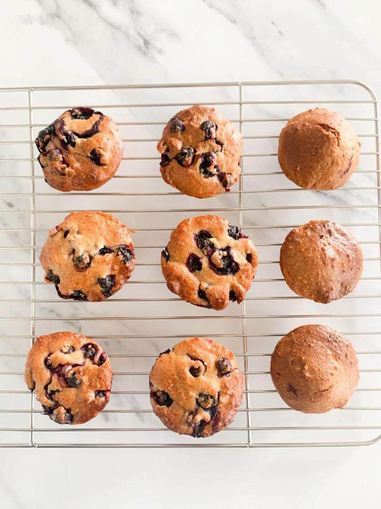 Blueberry Apple Hazelnut Muffins  & without blueberries