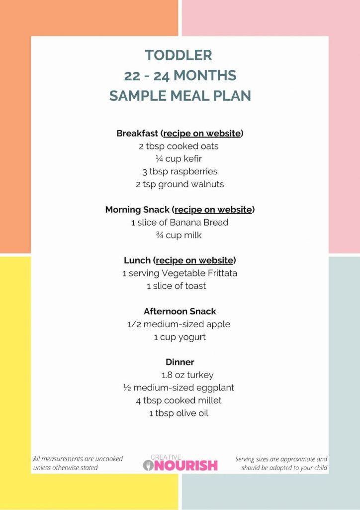 22-24 month old sample toddler meal plan