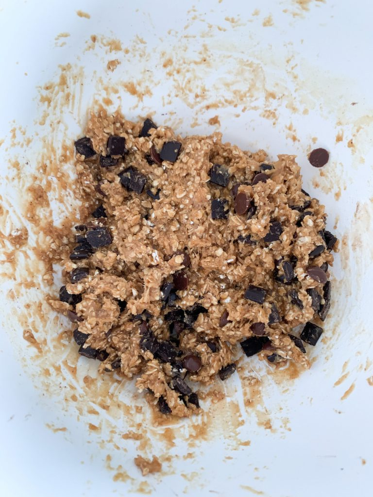 Batter for healthy chocolate chip cookies before the cookies are formed
