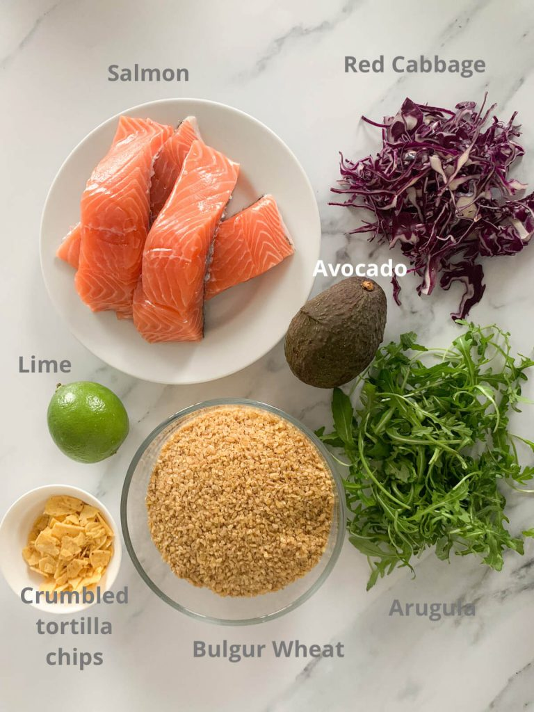 Sweetgreen fish taco bowl with bulgur wheat picture or ingredients with labels