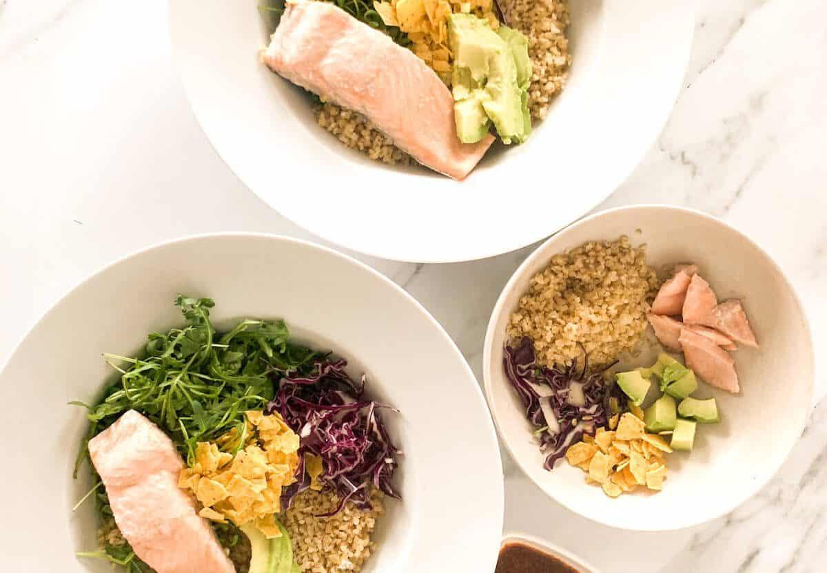 Sweetgreen fish taco adaptation with salmon and bulgur