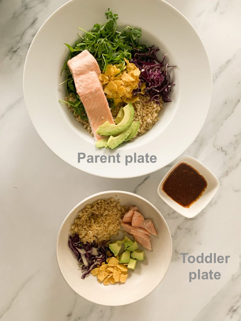 photo of parent plate and dressing on the side and a toddler plate