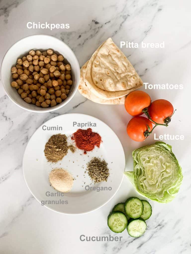 Vegetarian Crispy Roasted Chickpea Gyros ingredients