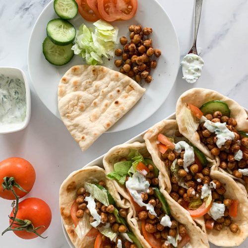 Vegetarian Crispy Roasted Chickpea Gyros with toddler plate