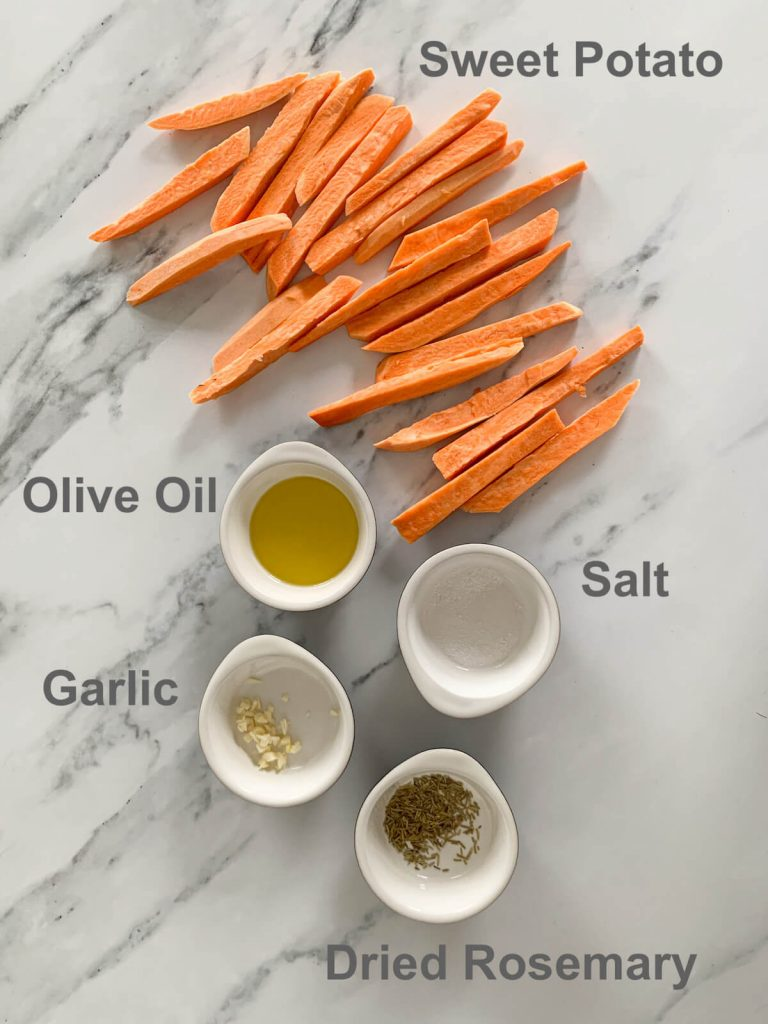 Ingredients for the Baked Sweet Potato Fries - olive oil, garlic, rosemary, salt, dried rosemary and sweet potatoes