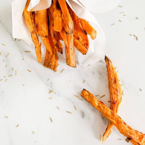 baked sweet potato fries with dried rosemary