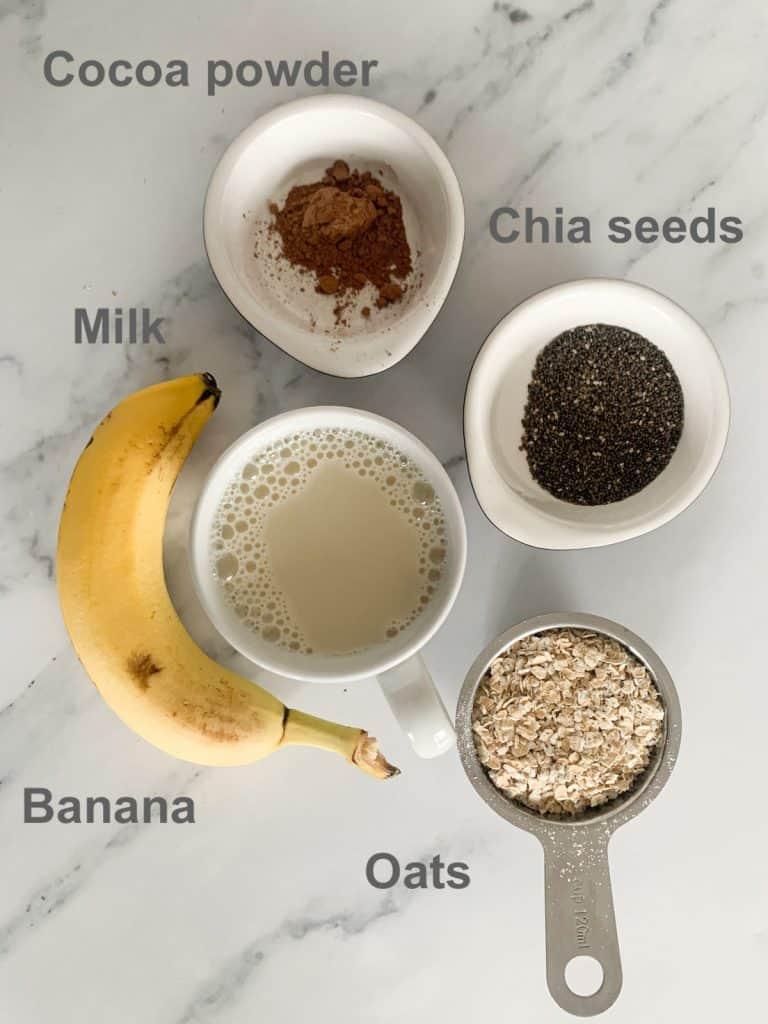Chocolate Banana Oatmeal Ingredients