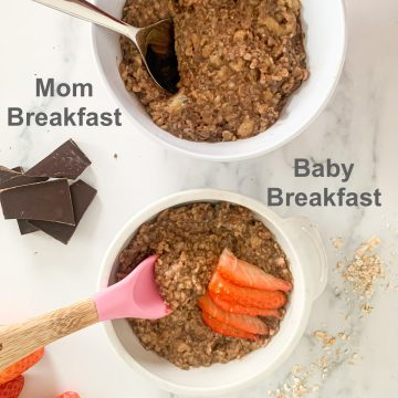 Chocolate Banana Oatmeal mom and baby portion
