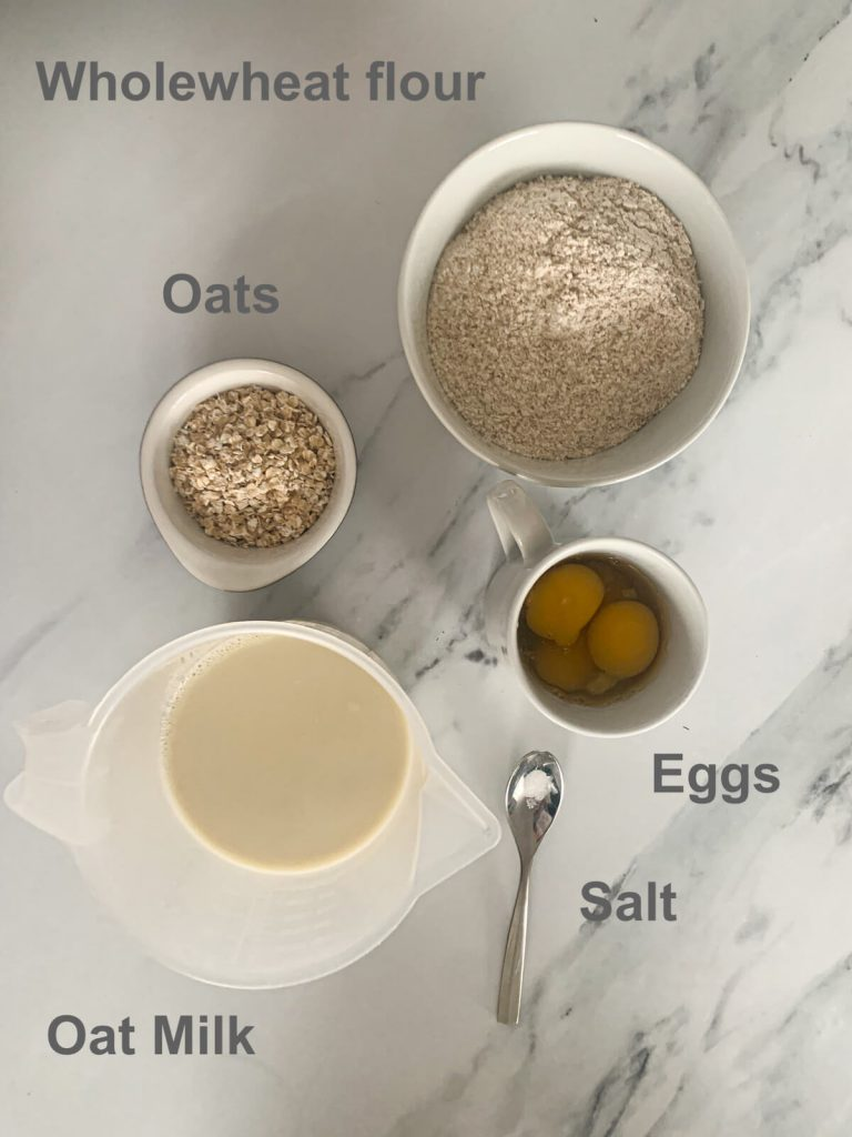 ingredients - eggs, oats, oat milk, salt and wholewheat flour