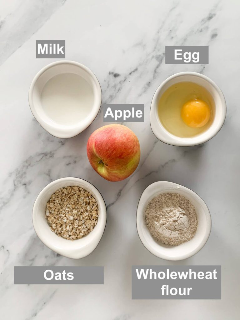 Ingredients for apple pancakes for baby-led weaning
