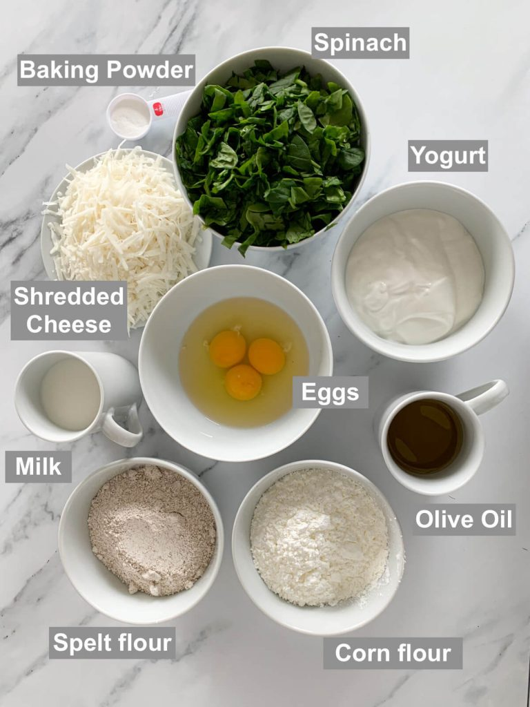 Ingredients on a marble background