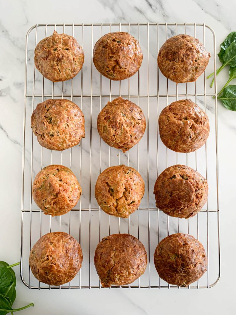 Spinach Cornbread Muffins for Baby & Toddler on a tray