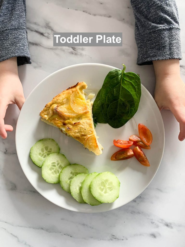 Toddler hands holding plate with the toddler serving