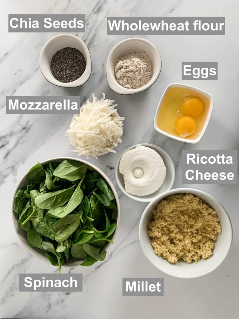 Ingredients for spinach and ricotta fritters