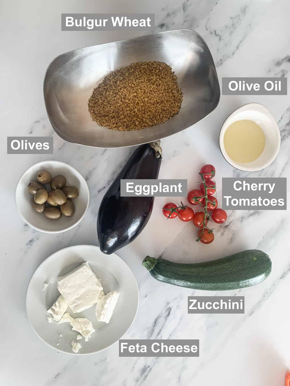 Ingredients for Mediterranean Summer Salad