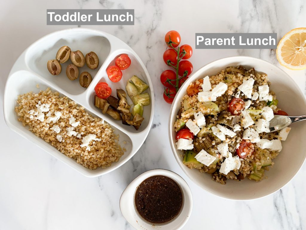 separated in a parent bowl and a toddler bowl