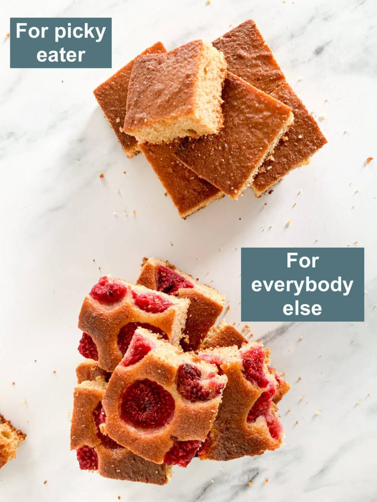 1 set of cakes for picky eaters, 1 set for everybody else
