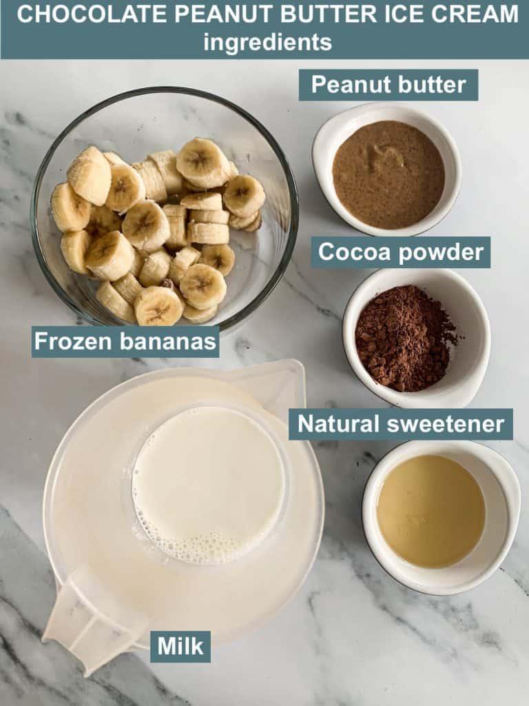 Ingredients - peanut butter, milk, cocoa powder, frozen bananas, natural sweetener