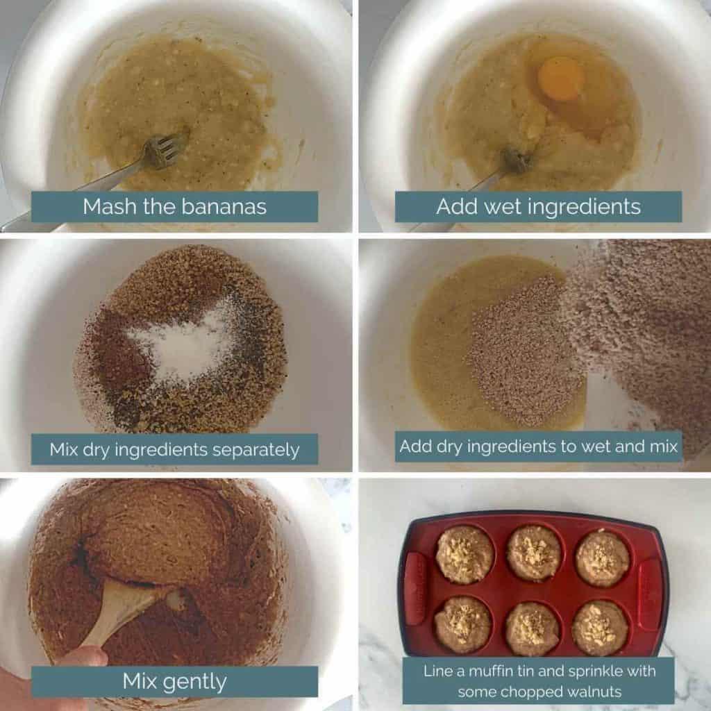 how to make banana bread muffins process shots